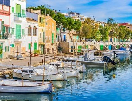 Anblick Hafen Idylle Boote Huser Mediterran