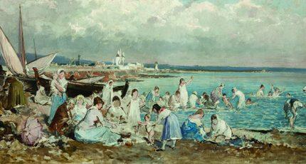 Ricard Anckermann, Molinar amb gent, c. 1890, Es Baluard Museu d'Art Modern i Contemporani de Palma. Dipòsit Col·lecció Consell de Mallorca