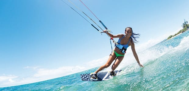 Kite-surfing and kite-flying