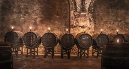 Alte Fässer im Weinkeller