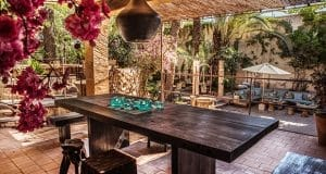 Large wooden dining tables on Mallorca