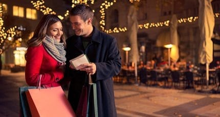 Smiling couple checking shopping list for Christmas