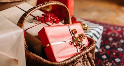 Christmas Day. Christmas gift packages with ribbons of various c