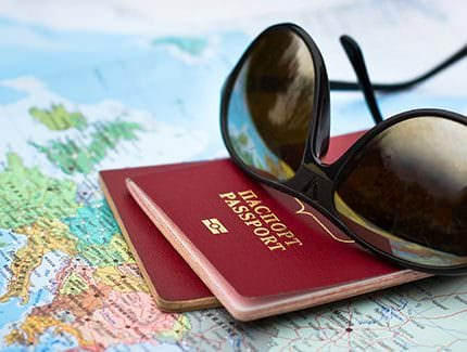 travel concept, two passports on the map of Europe