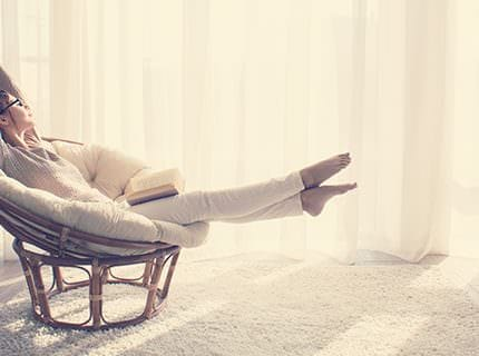 Woman relaxing in chair