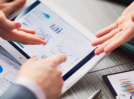 Businessman on online Financial Assessment